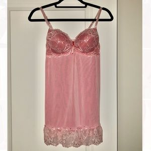 Pink and red lace nightgown